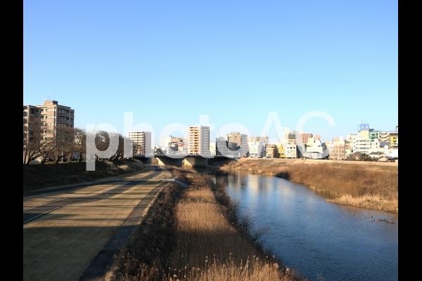 福井県の橋・川「足羽川」(冬・夕方)